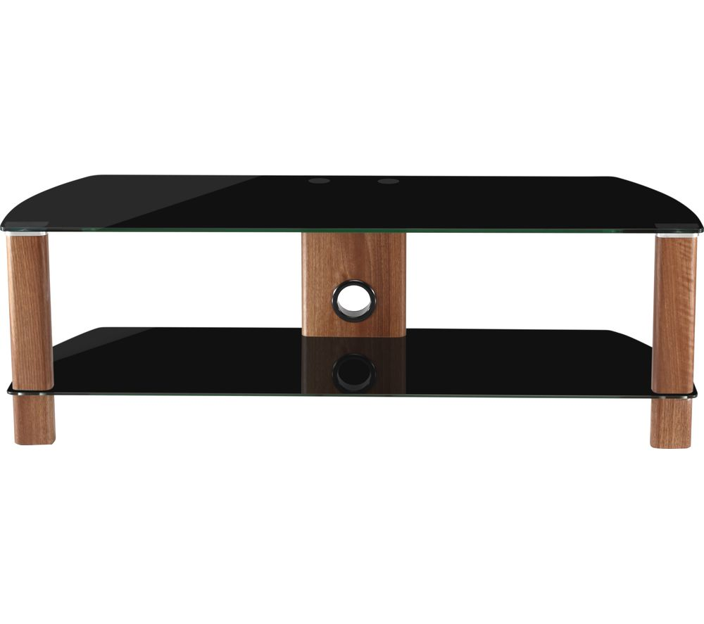 ALPHASON Century 1200 TV Stand - Walnut & Black Glass