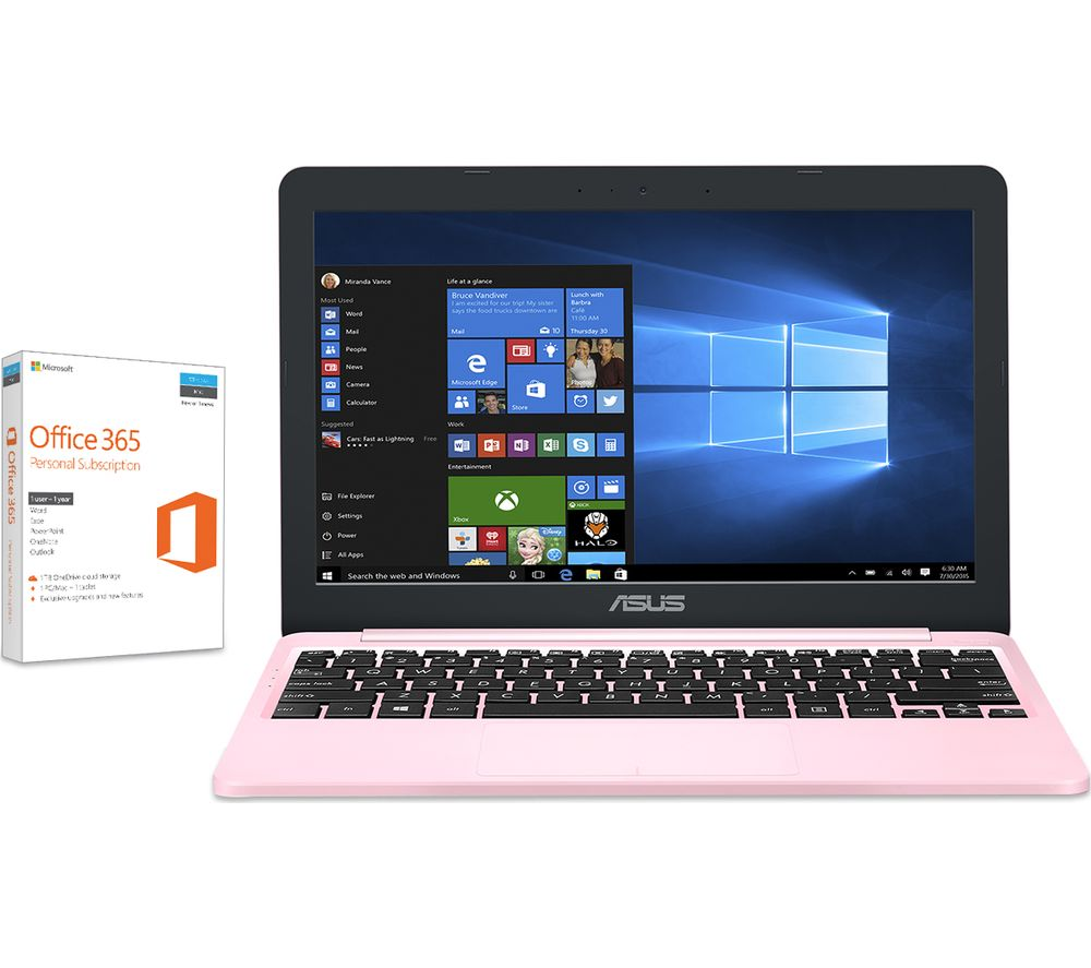 "ASUS VivoBook E203 11.6"" Laptop - Pink + Office 365 Personal - 1 year for 1 user"