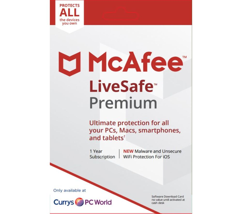 MCAFEE LiveSafe Premium 2018 - 1 user / unlimited devices for 1 year