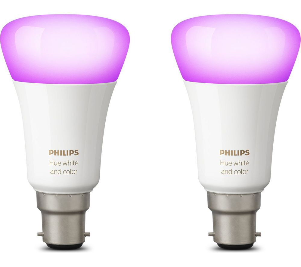 PHILIPS Hue White and Colour Ambiance Wireless Bulb - B22, Twin Pack