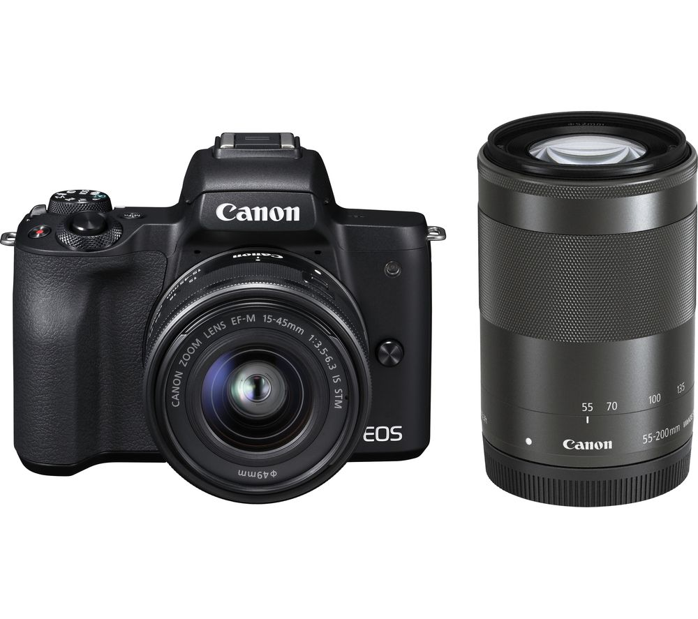 Click to view product details and reviews for Canon Eos M50 Mirrorless Camera With Ef M 15 45 Mm F 35 56 Is Stm 55 200 Mm F 45 63 Is Stm Lens.