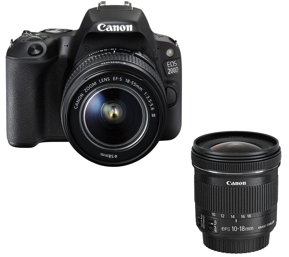 CANON EOS 200D DSLR Camera, EF-S 18-55 mm f/3.5-5.6 III Lens & EF-S 10-18 mm f/4.5-5.6 IS STM Wide-angle Zoom Lens Bundle