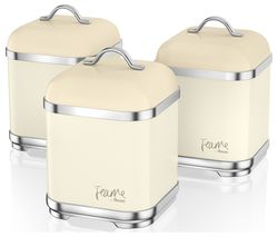 Fearne by Swan SWKA1025HON Square 1.5 litre Storage Canisters - Pale Honey, Set of 3