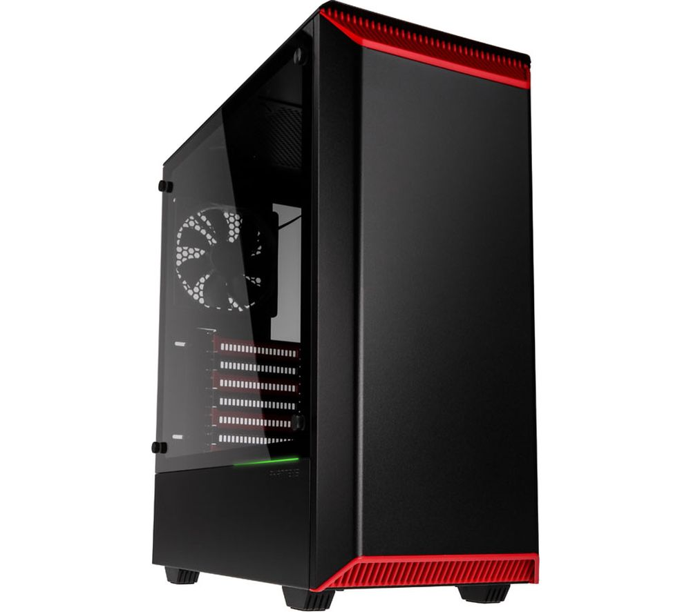 Image of PHANTEKS Eclipse P300 E-ATX Midi-Tower PC Case - Black & Red, Black