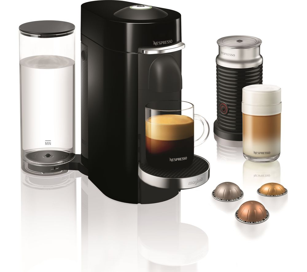 buy nespresso by magimix vertuo plus coffee machine with aeroccino piano black free delivery. Black Bedroom Furniture Sets. Home Design Ideas