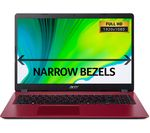 £349, ACER Aspire 3 A315-54 15.6inch Intel® Core™ i3 Laptop - 1 TB HDD, Red, Everyday: All-rounder for work and play, Windows 10, Intel® Core™ i3-7020U Processor, RAM: 4GB / Storage: 1 TB HDD, Battery life:Up to 8 hours,