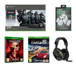MICROSOFT Xbox One X with Gears 5, Tekken 7, Project Cars 2, Stealth 600 Headset & Twin Docking Station Bundle