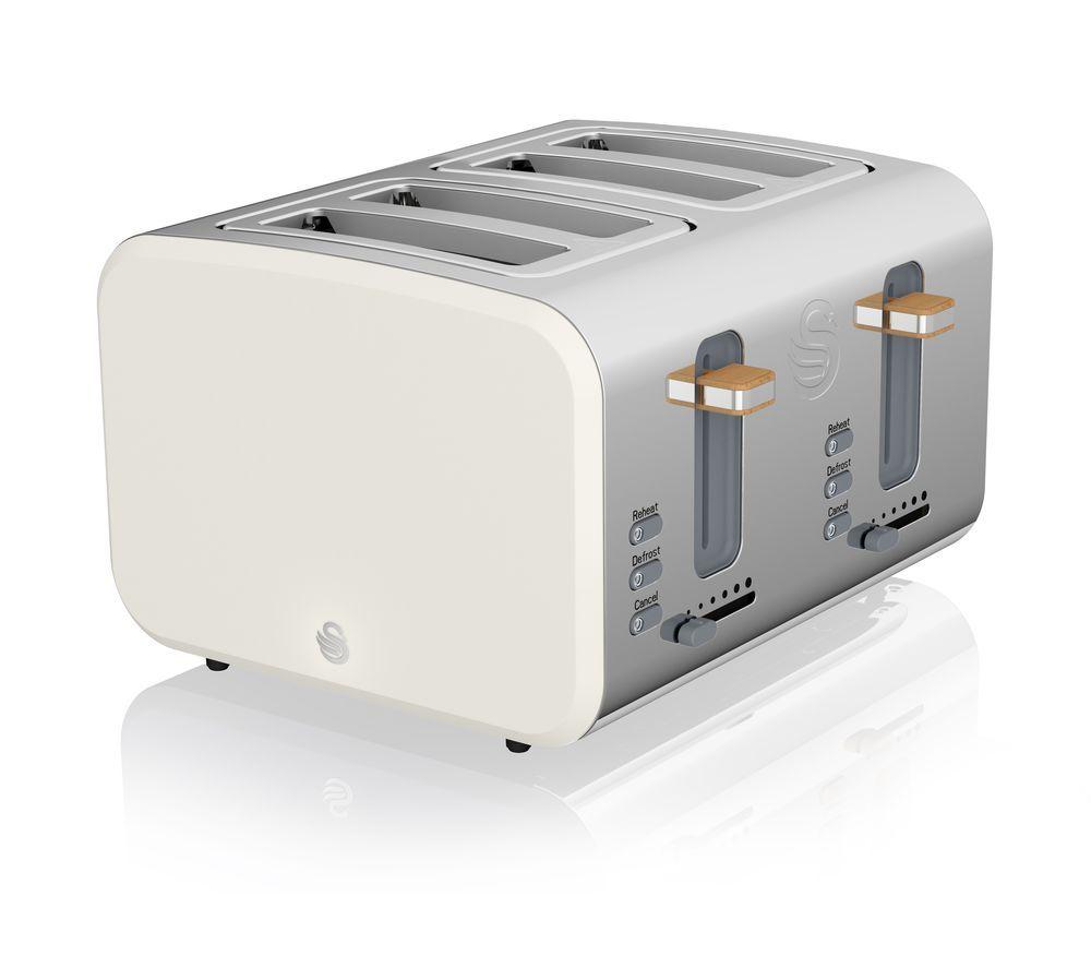 Nordic ST14620WHTN 4-Slice Toaster - White, White