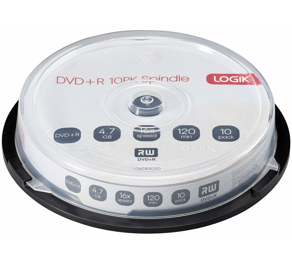 LOGIK 16x Speed DVD+R Recordable DVDs - Pack of 10