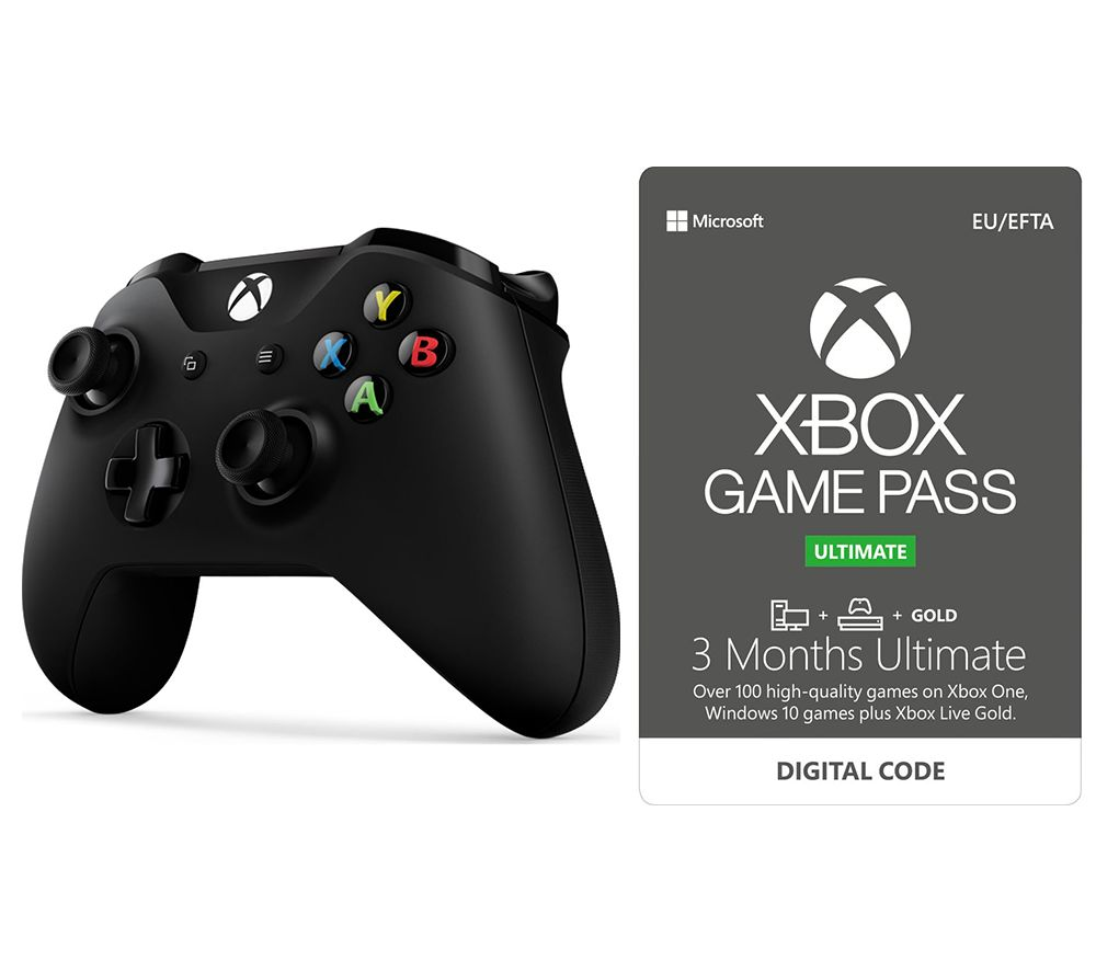 Image of MICROSOFT Xbox One Wireless Controller & Game Pass Ultimate Bundle - Black, Black