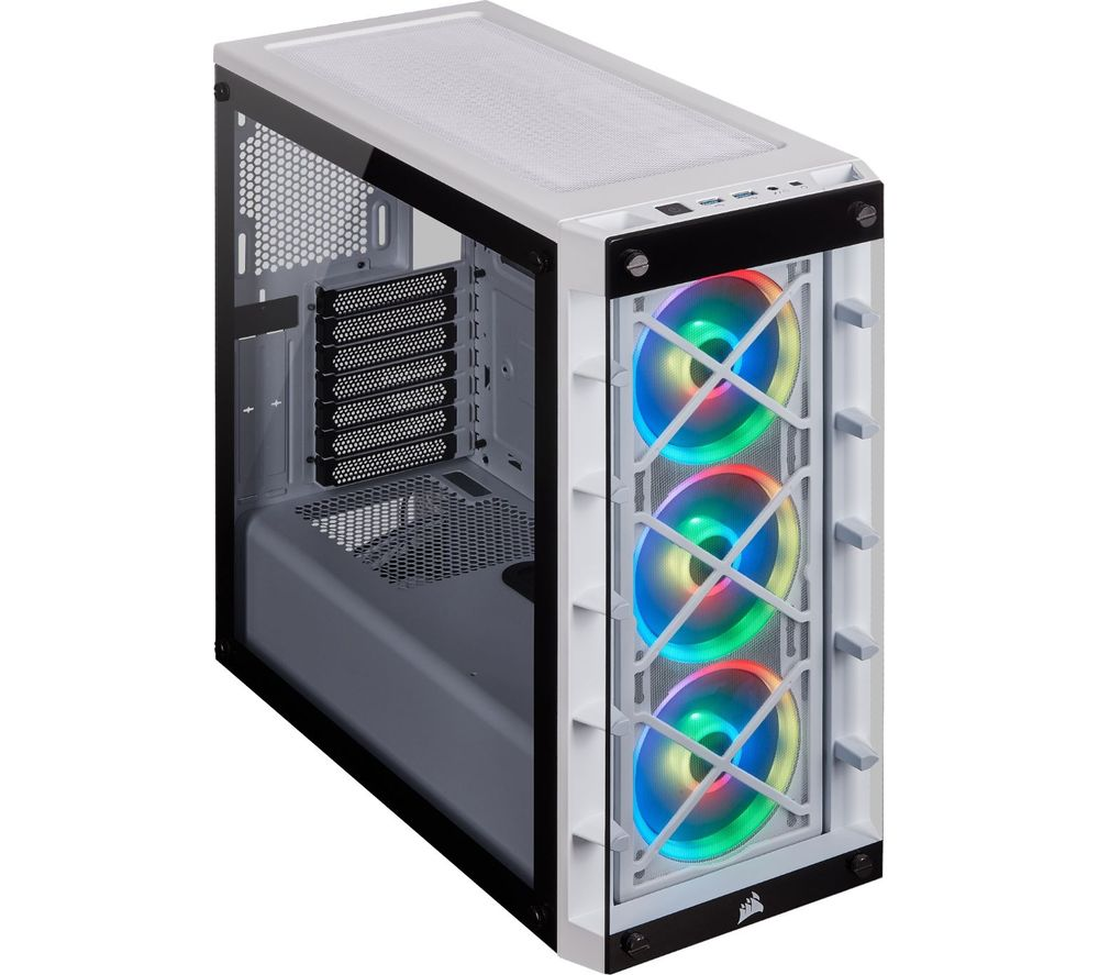 Image of CORSAIR iCUE 465X RGB ATX Mid-Tower PC Case - White, White