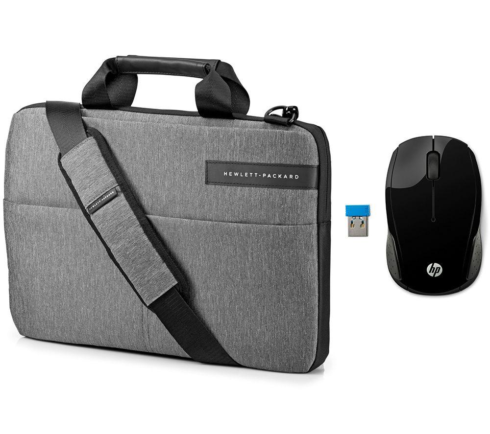 "HP Signature Slim Topload 14"" Laptop Messenger Bag & Wireless Mouse 200 Bundle - Grey"