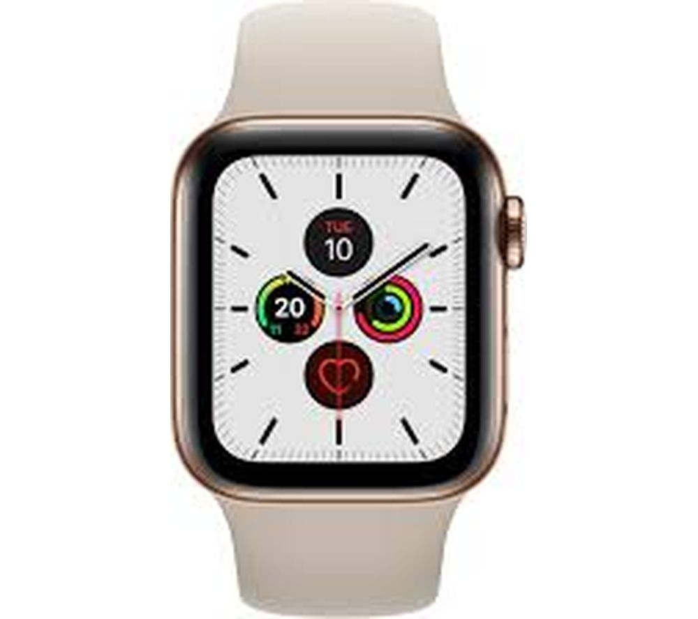 APPLE Watch Series 5 Cellular - Gold Stainless Steel with Stone Sports Band, 40 mm