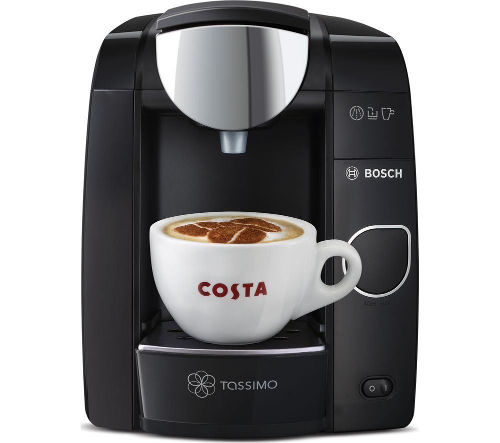 TASSIMO by Bosch Joy TAS4502GB Hot Drinks Machine - Black + Costa Latte T Discs - Pack of 8