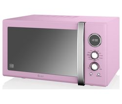 SWAN SM22080PN Retro Microwave with Grill - Pink