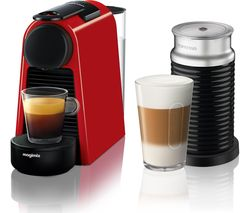 NESPRESSO by Magimix Essenza Mini Coffee Machine with Aeroccino - Ruby Red