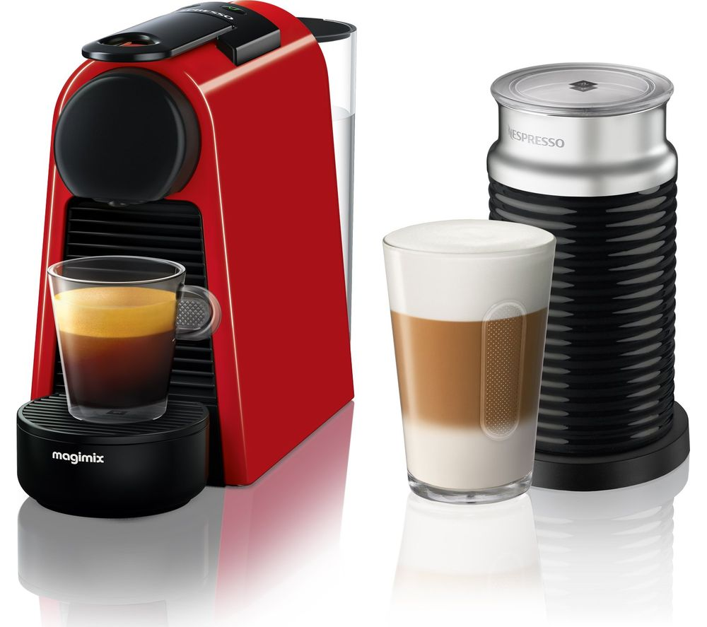 Nespresso By Magimix Essenza Mini Coffee Machine With Aeroccino Ruby Red
