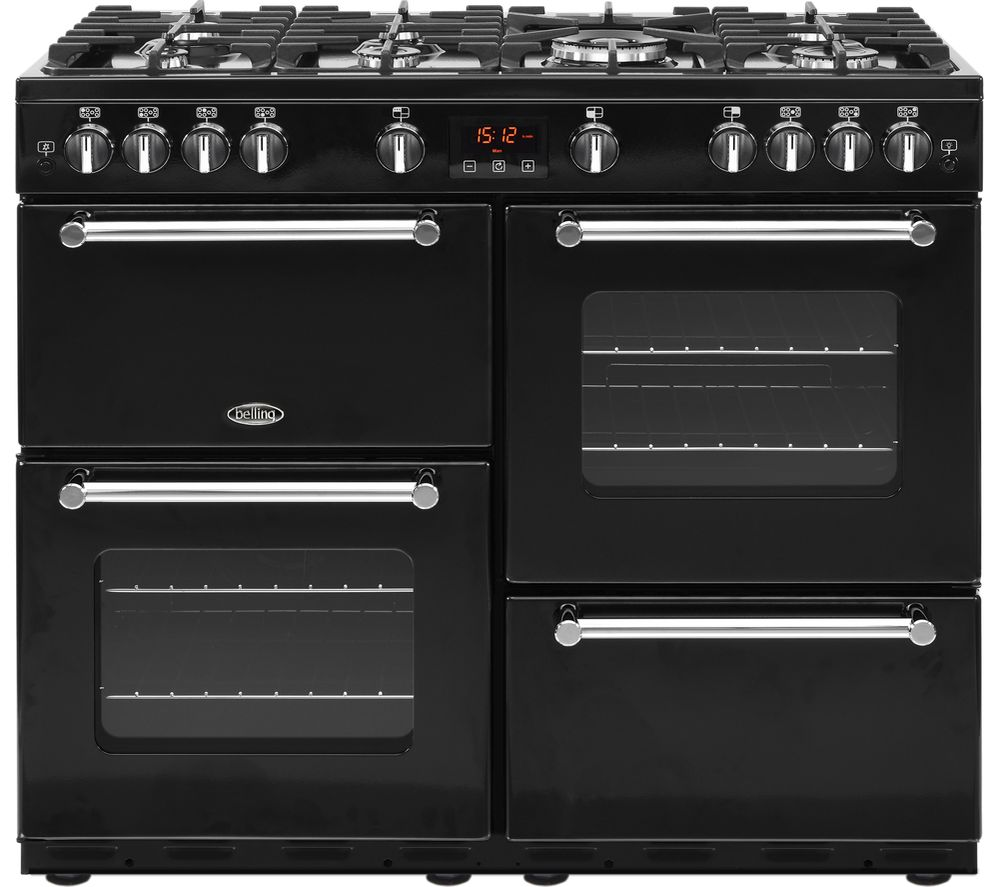 BELLING Kensington 100G Gas Range Cooker - Black & Chrome
