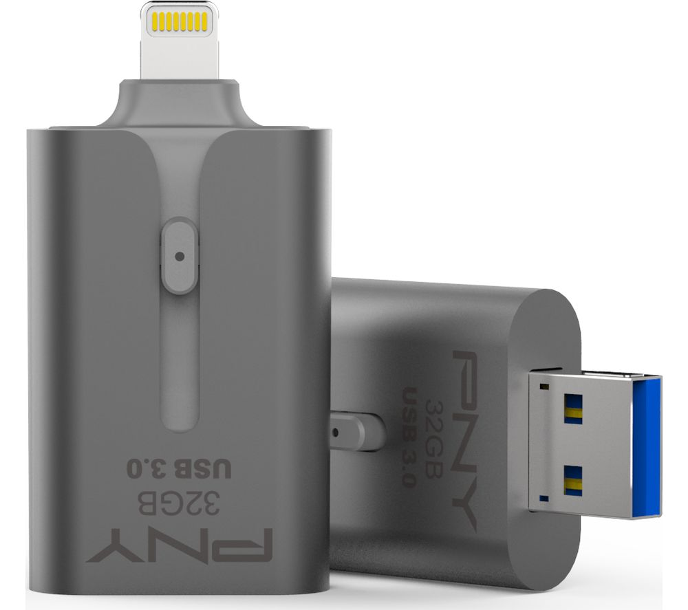 PNY DUO-LINK USB 3.0 & Lightning Dual Memory Stick - 32 GB, Grey, Grey Review thumbnail