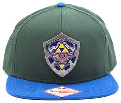 ZELDA Metal Hylian Shield Snapback Cap - Green & Blue