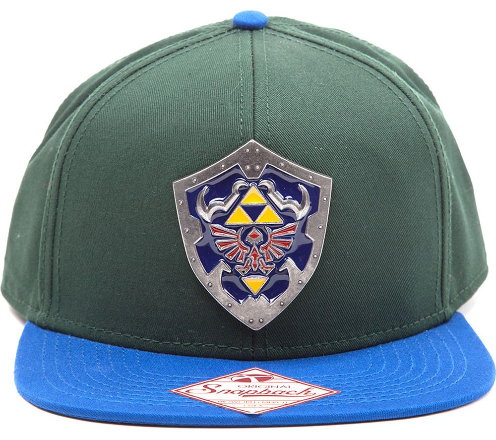 ZELDA Metal Hylian Shield Snapback Cap - Green & Blue, Green Review thumbnail