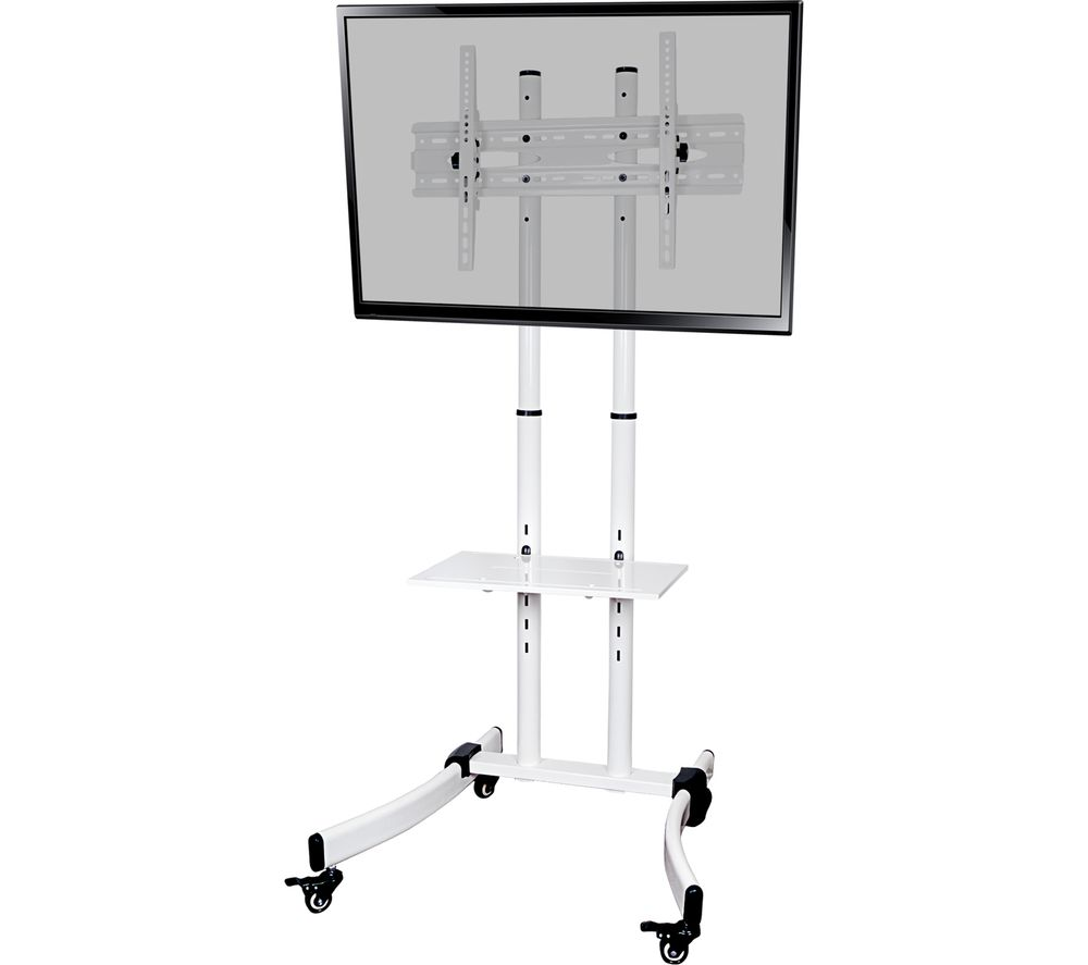 PROPER P-TTT103W-1 Trolley 700 mm TV Stand with Bracket - White
