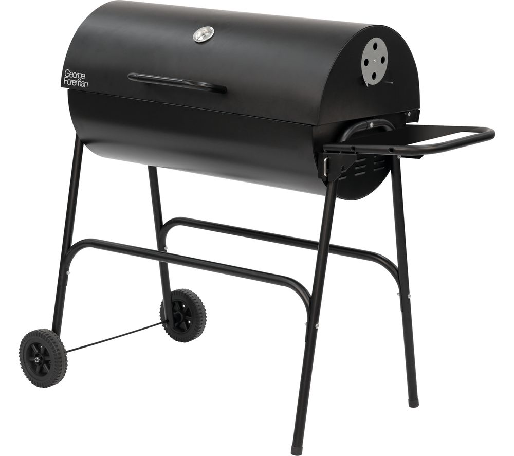 Image of GEORGE FOREMAN GFDRMBBQ Portable Drum Charcoal BBQ - Black, Charcoal
