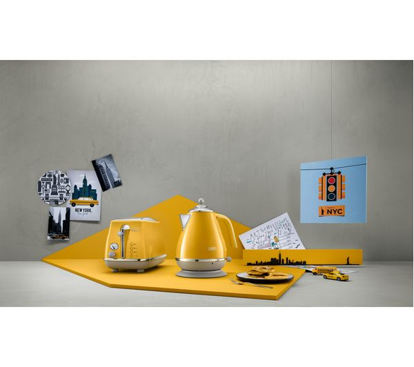 Delonghi Icona Capitals Kboc Jug Kettle Yellow Fast Delivery Currysie