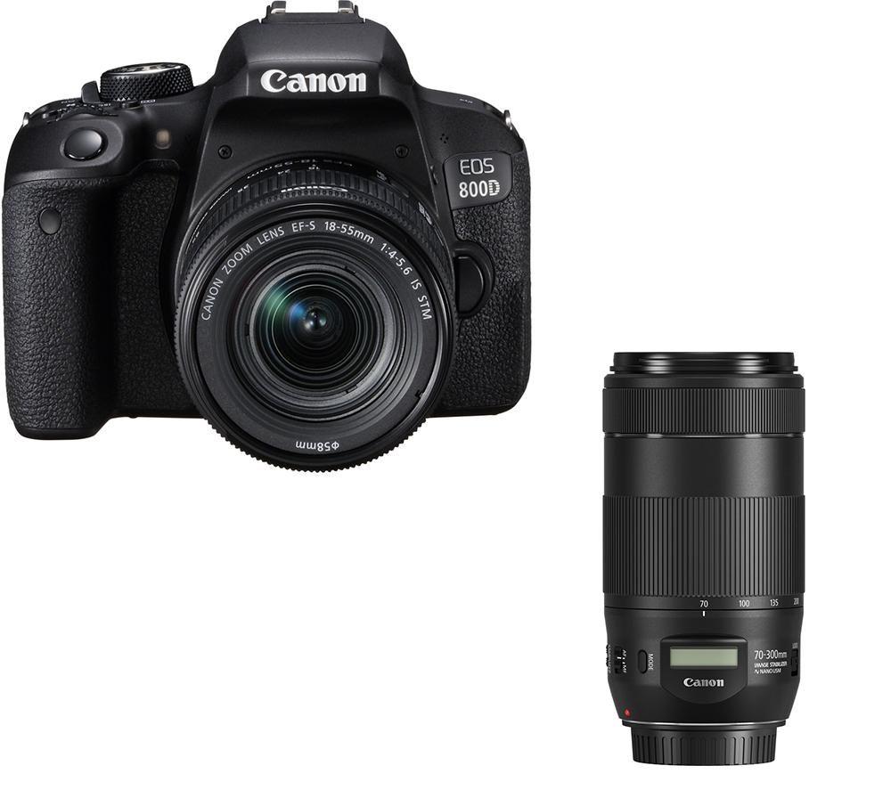 CANON EOS 800D DSLR Camera, EF-S 18-55 mm f/4-5.6 IS STM Lens & EF 70-300 mm F/4-5.6 IS II USM Telephoto Zoom Lens Bundle