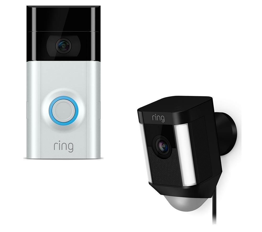 RING LIGHT Spotlight Cam & Video Doorbell 2 Bundle - Black & Silver