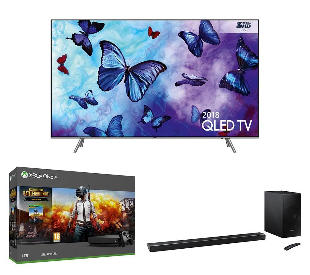 "Image of 49"" SAMSUNG QE49Q6FNATXXU Smart 4K Ultra HD HDR QLED TV, HW-N650 5.1 Wireless Sound Bar, Xbox One X & PUBG Bundle"