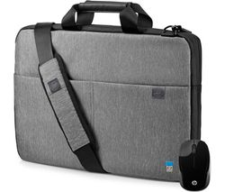 "HP L6V68AA-BUN 15.6"" Signature Slim Topload Laptop Case & Wireless Mouse Bundle - Grey"