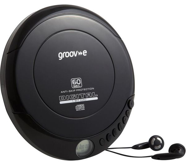 GROOV-E Retro GV-PS110-BK Personal CD Player - Black, Black