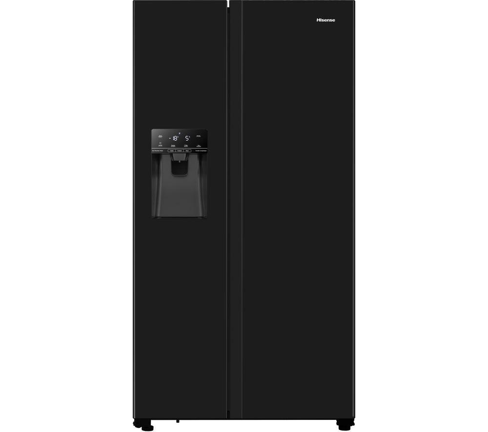 HISENSE RS694N4TBF American-Style Fridge Freezer - Black, Black