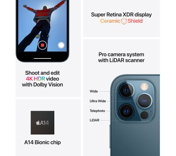 Apple iPhone 12 Pro - 256 GB, Pacific Blue 9