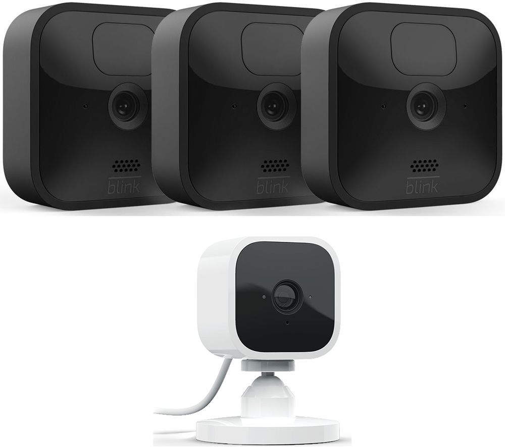 Image of BLINK BLINK Outdoor HD 1080p WiFi Security 3 Camera System & BLINK Mini Full HD 1080p WiFi Plug-In Security Camera Bundle