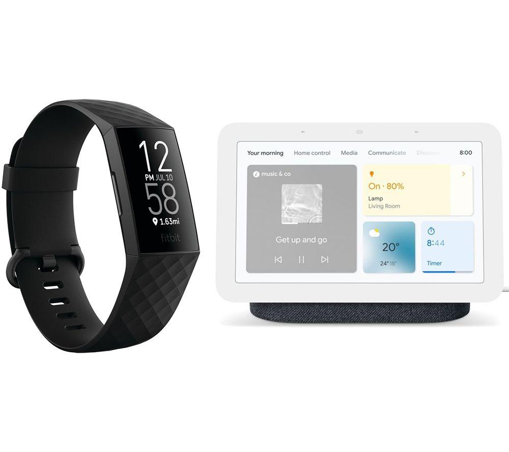 FITBIT Charge 4 Fitness Tracker & Nest Hub (2nd Gen) Smart Display Bundle - Black & Charcoal
