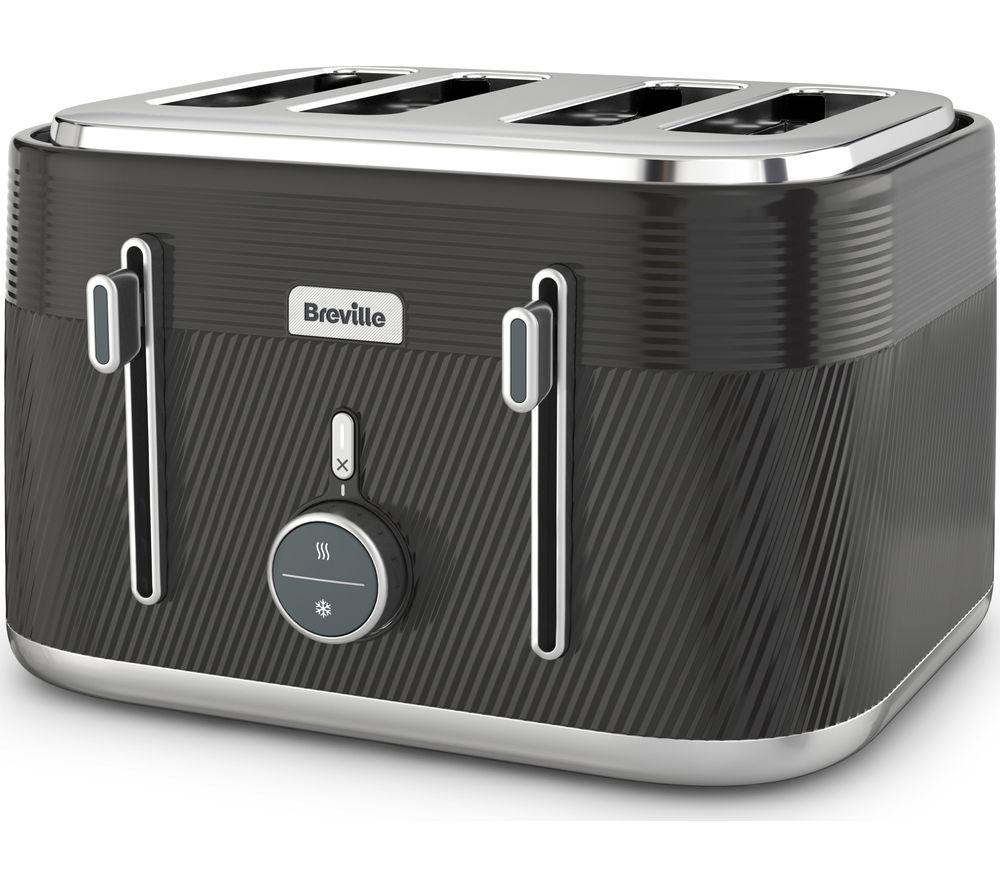 BREVILLE Obliq VTT973 4-Slice Toaster - Black & Silver, Black