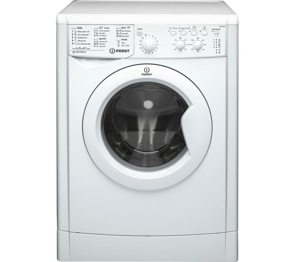 INDESIT IWC71452 ECO Washing Machine - White + Ecotime IDV75 Vented Tumble Dryer - White