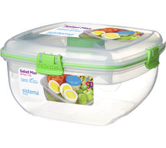 SISTEMA Salad To Go Max Square 1.3-litre Container - Green