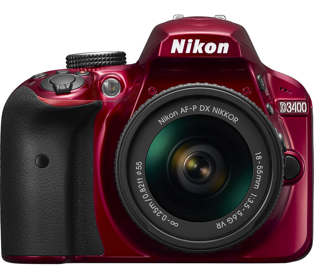 NIKON D3400 DSLR Camera with DX 18-55 mm f/3.5-5.6G VR Lens - Red