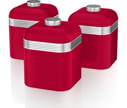SWAN Retro SWKA1020RN 1-litre Canisters - Red, Pack of 3