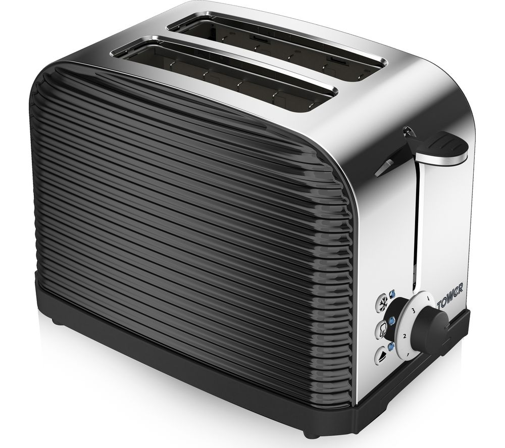 Image of TOWER Linear T20007 2-Slice Toaster - Black, Black