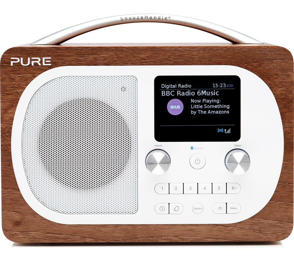 Pure Evoke H4 Portable Dab Fm Bluetooth Clock Radio Walnut
