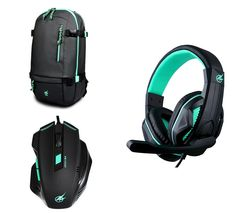 "PORT DESIGNS Arokh H-1 Headset & X-1 Optical Mouse & BP-1 15.6"" Laptop Backpack Gaming Pack"