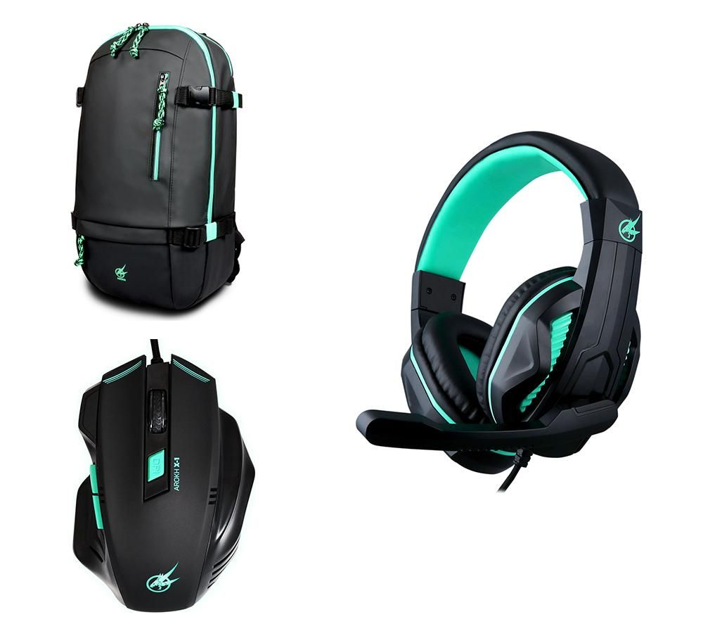 """PORT DESIGNS Arokh H-1 Headset & X-1 Optical Mouse & BP-1 15.6"""" Laptop Backpack Gaming Pack"""