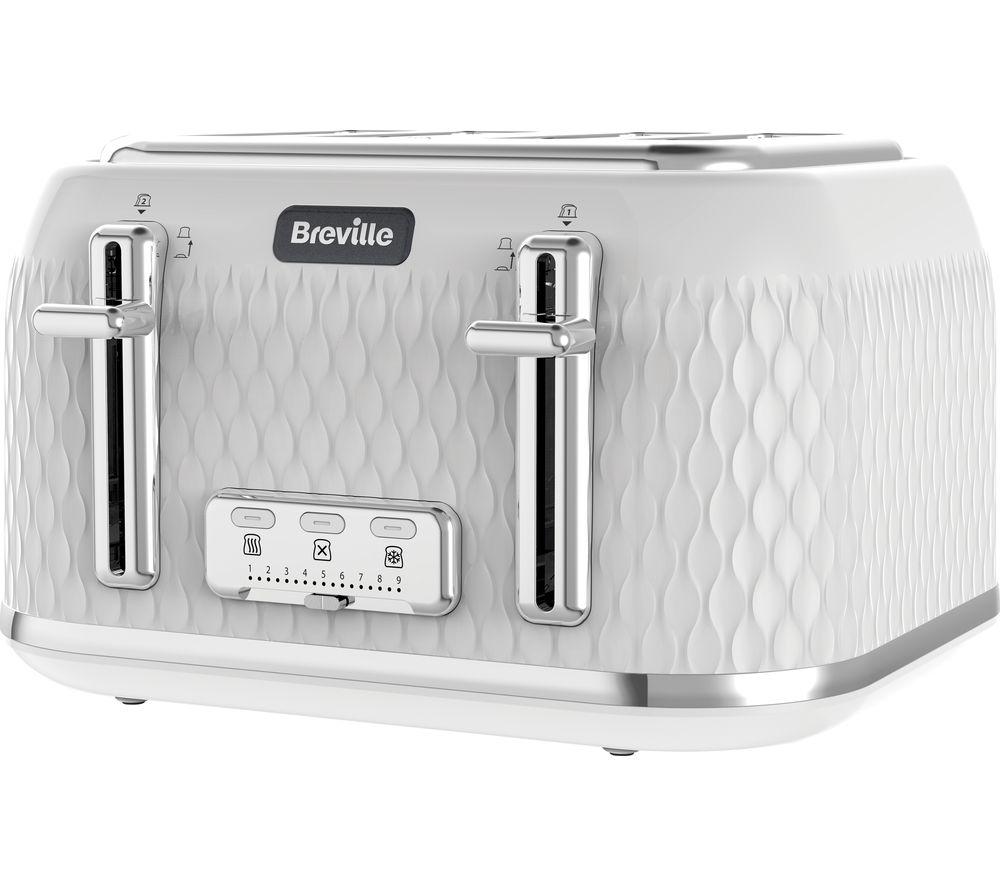 Image of BREVILLE Curve VTT911 4-Slice Toaster - White & Chrome, White
