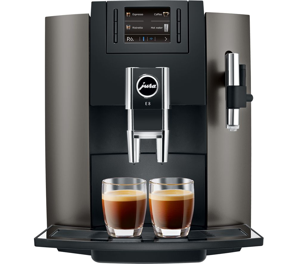 buy jura e8 bean to cup coffee machine dark inox free delivery currys. Black Bedroom Furniture Sets. Home Design Ideas