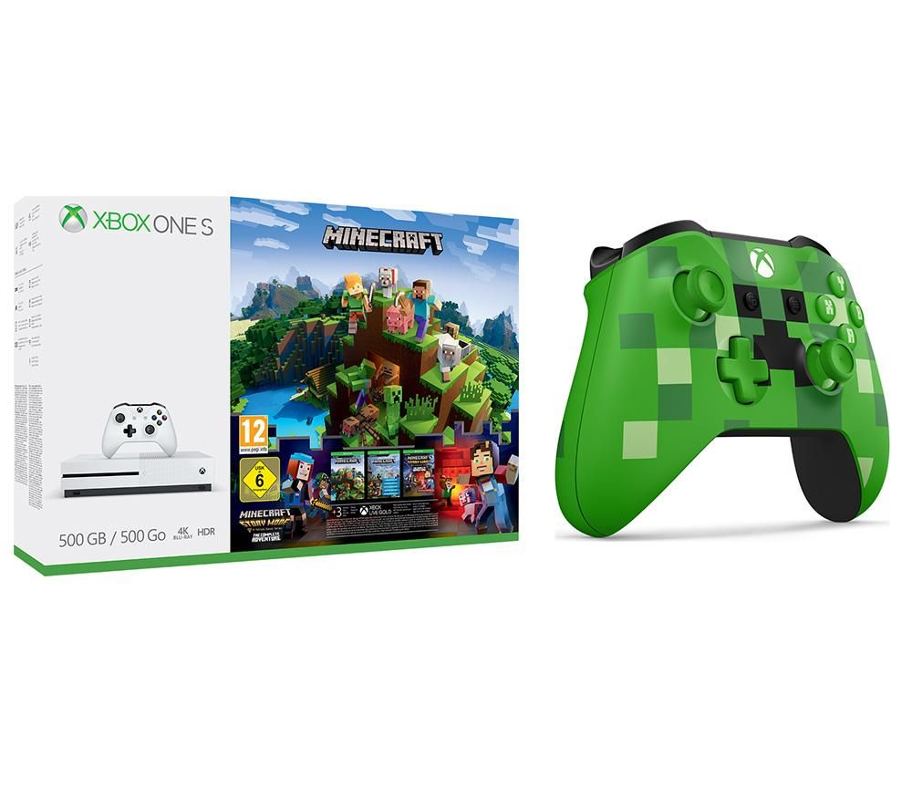 Image of MICROSOFT Xbox One S with Minecraft & Creeper Wireless Controller, Green