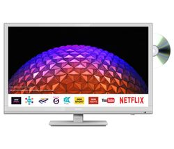 "SHARP LC-24DHG6001KFW 24"" Smart HD Ready LED TV with Built-in DVD Player - White"